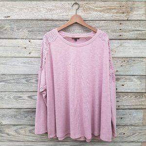 Lane Bryant Pink Long Sleeve Lace Shoulder 26/28